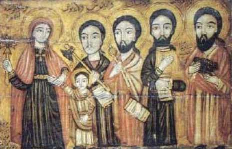Icons of Saints Cosmas and Damien, with their brothers (Anthimus, Leontius, and Euprepius) and their mother, the widow Theodota.  All were martyered  in the year 303.