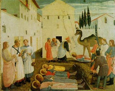 A painting depicting the burial of the martyred saints Cosmas and Damien (foreground), along with their three brothers (one in the background).  They were buried in Cyrus (in Syria) and a basilica was built over their tombs.  Their feast day is September 27.