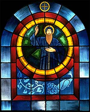 St. Maron depicted in stained glass