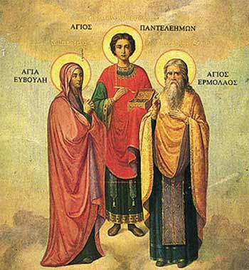 St Pantaleon, with (left) his mother St. Eubula, and (right) St. Hermolaus