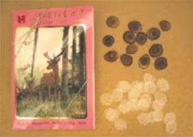 Packaged antler product, showing thick and thin slices of antler