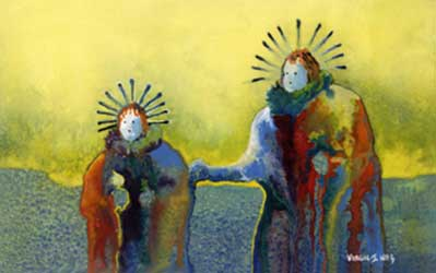Painting by Virgil Nez, depicting two Yei'bi'chi dancers coming home at dawn after an all night ceremony.