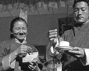 Enjoying tea in Bhutan
