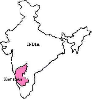 Map of India showing Karnataka State