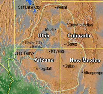 Outline of Colorado Plateau, showing Gallup in New Mexico.