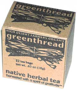 Box of greenthread tea in teabags.