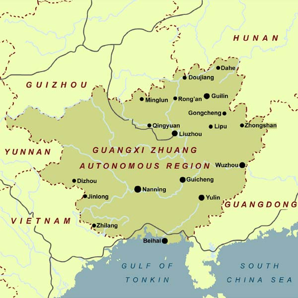Map showing Guangxi, a major growing region for Ku Ding Cha. This herb is also grown in all the surrounding areas shown: Guizhou and Hunan to the north, Guangdong to the east, Yunnan and Vietnam to the West. It is also grown on Hainan Island, in the South China Sea.