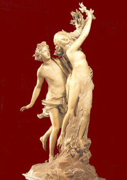 Statue of the transformation, occurring just as Apollo catches up to Daphne.