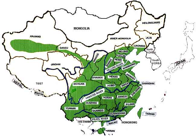 Mulberry cultivation areas in China