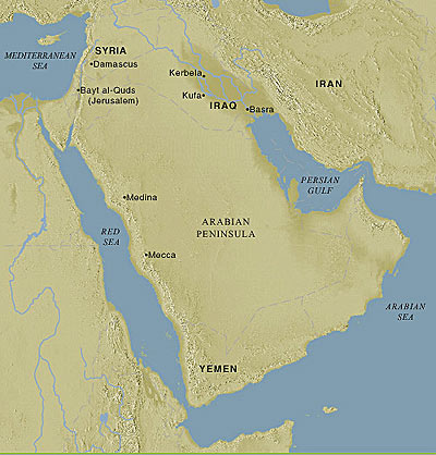 Map of the Arabian Peninsula