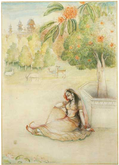 Illustration of a woman sitting beneath a saraca tree from Garden of Life.