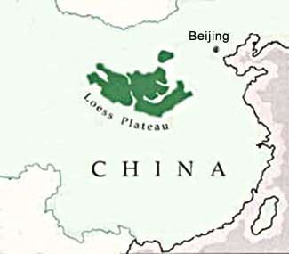 Map of the Loess Plateau of northern China