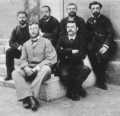 Gilles de la Tourette (second from left, top row) and colleagues in the field of neurology at a Paris hospital.