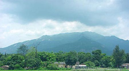 Luofu Mountain seen from a nearby village