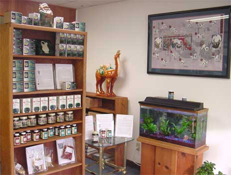 Display of green teas, Kyo-Green powder and raw herb materials.